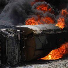 В Подмосковье загорелись бензовозы
